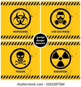 set of grunge danger banners containing four official international hazard symbols, eps10 vector illustration