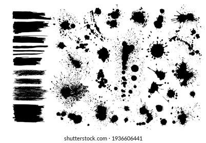 Set of Grunge Design Elements. Black blots. Brush Strokes. Vector illustration
