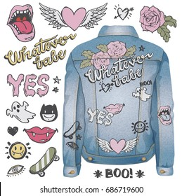 A set of grunge doodles and badges to draw or embroider on to fashion items like denim jackets. Vector illustrations.