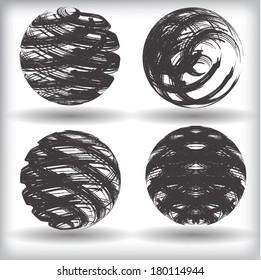 Set of grunge globes