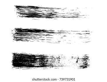 Set of grunge hand drawn brush strokes