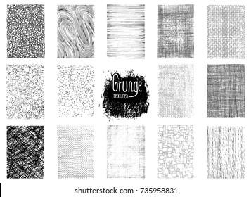 Set of grunge hand drawn textures