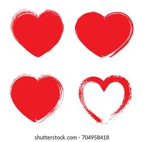 Set of grunge hearts.Vector heart shapes.