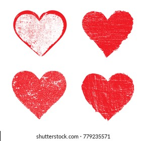 Set of grunge hearts.Vector hearts for valentines day or wedding.
