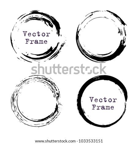 Set Grunge Ink Circle Frames Round Stock Vector (Royalty Free ...