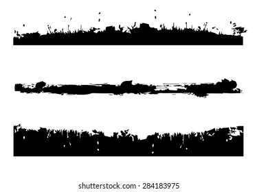 Set of grunge and ink strokes. vector template - easy to use