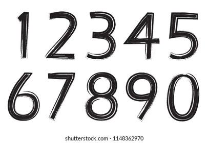 Set of grunge numbers.Vector distressed numbers.
