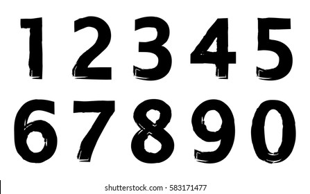 Set of grunge numbers.Vector distressed numbers.