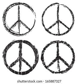 Set of grunge peace symbol on white background, vector illustration