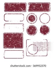 Set of Grunge Post Stamps. Vector illustration. EPS 10