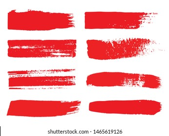 Set of grunge red brush stroke on white background. Hand drawn vector brush paintings