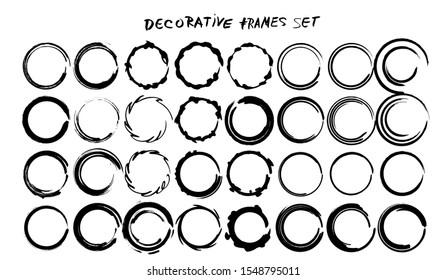 Set of grunge round frames. Collection of black borders. Bundle of elements for collage. Vector illustration.