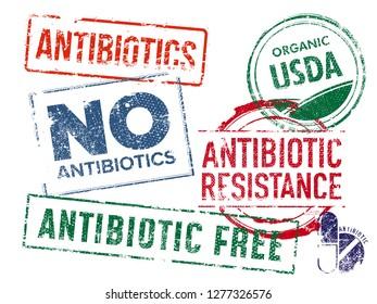 Set of grunge rubber Antibiotics stamps grunge rubber