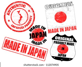 Set of grunge rubber stamp with the text made in Japan written inside, vector illustration