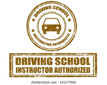 Set of grunge rubber stamp with text driving school inside,vector illustration