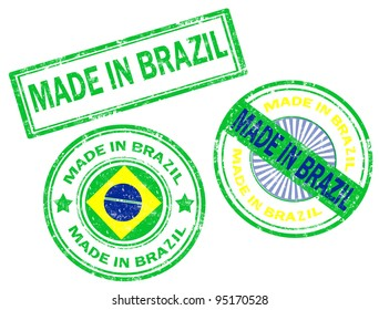 Set of grunge rubber stamp with the text made in Brazil written inside, vector illustration