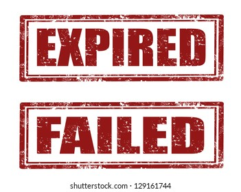 Set of grunge rubber stamp with word expired ,failed  inside vector illustration