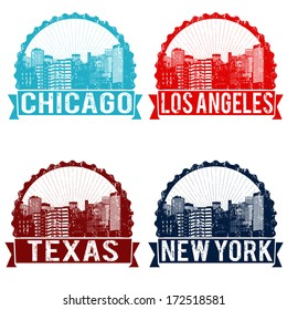 Set of grunge rubber stamps of Chicago, Los Angeles, Texas and New York on white, vector illustration