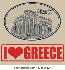 Set of grunge rubber stamps with Greece, vector illustration