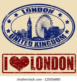 Set of grunge rubber stamps with London, vector illustration