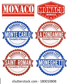 Set of grunge rubber stamps with names of Monaco cities, vector illustration