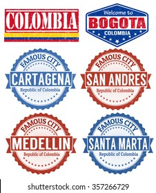 Set of grunge rubber stamps with names of Colombia cities, vector illustration