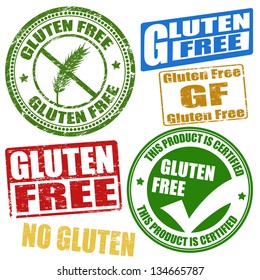 Set of grunge rubber stamps with the text gluten free written inside, vector illustration