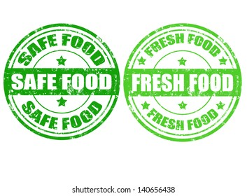 Set of grunge rubber stamps with text safe food and fresh food inside,vector illustration