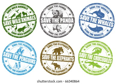 Set of grunge rubber stamps with the text save wild animals, panda, whales,penguins,elephants and penguins