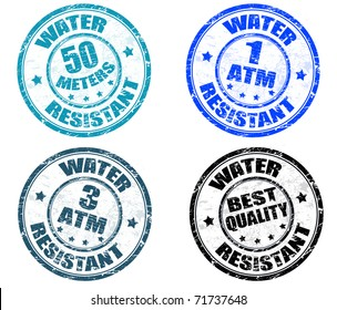 Set of grunge rubber stamps with the text water resistant written inside the stamp