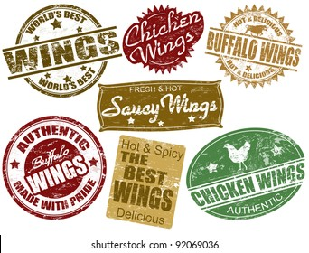 Set of grunge rubber stamps with the word wings written inside, vector illustration