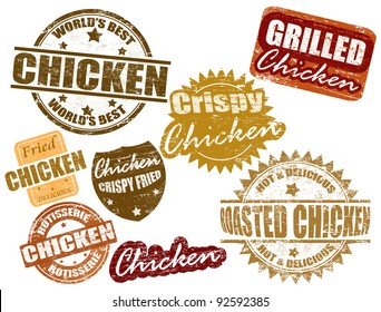 Set of grunge rubber stamps with the word chicken written inside, vector illustration