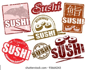 Set of grunge rubber stamps  with  the word sushi written inside, vector illustration