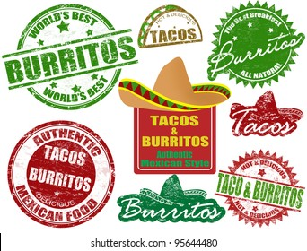 Set of grunge rubber stamps  with  the words tacos and burritos written inside, vector illustration