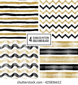 Set of grunge seamless pattern of black gold stripes, waves, zigzag chevron, texture black and golden lines, wavy and zig zag stripes, hand drawn vector pattern for invitation, card, wedding, holiday