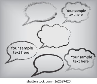 Set of grunge speech bubbles