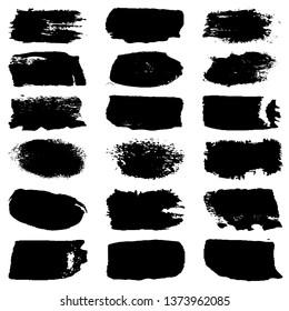 Set of grunge spots, strokes. Dry brush strokes vector