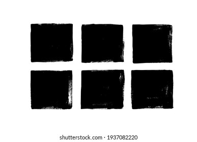 Set of grunge square template backgrounds. Vector black painted squares or rectangular shapes. Hand drawn brush strokes isolated on white. Dirty grunge design frames, borders or templates for text. - Shutterstock ID 1937082220