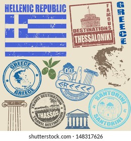 Set of grunge stamps with Greece on vintage background, vector illustration