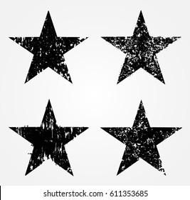 Set of grunge stars.Vector illustration.