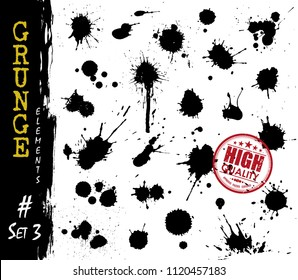 Set of grunge style blood or ink splatter and droplet . Elements vector .
