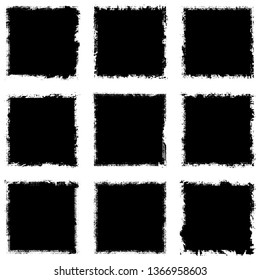 Set of grunge textures of black and white squares