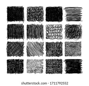 Set of grunge textures with pencil, pen. scribble thin line, squares with different hatching, engraving. Set of rectangular shapes with free hand lines for design. Vector illustration