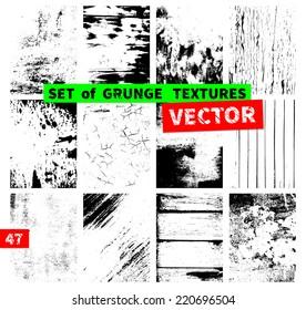Set of grunge textures. Vector illustration