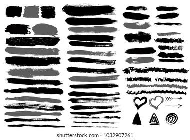 Set of grunge vector brush strokes