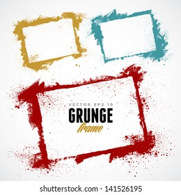 Set of grunge vector frames. Grunge background. Watercolor background. Retro background. Vintage background. Design elements. Hand drawn. Texture background. Abstract shape. Vector pack