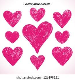 Set of grunge vector hearts. Design elements. Retro background. Vintage background. Valentine background. Abstract background. Hand drawn. Grunge heart. Abstract shape