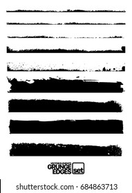 Set of grunge vector ink edges (individual objects) Design elements for your projects. Set of grunge and ink stroke lines. vector template - easy to use