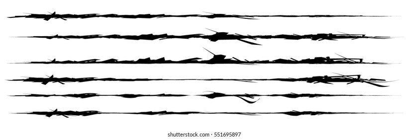 Set of grungy brush strokes. Shapes to for rip, slash, damage, torn effects