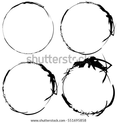 Set Grungy Brush Strokes Shapes Rip Stock Vector Royalty Free